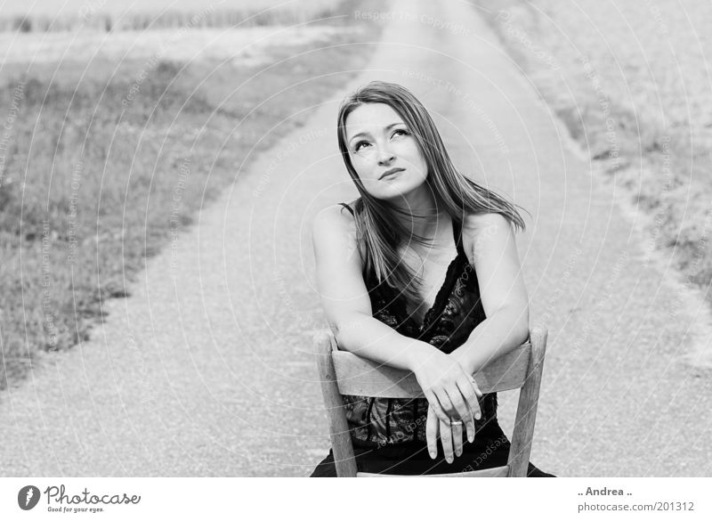 Human being Youth (Young adults) White Young woman Landscape 18 - 30 years Black Adults Street Feminine Lanes & trails Field Sit Wait Chair Longing