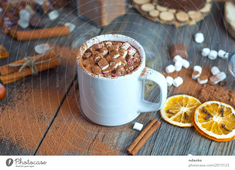 Drink hot chocolate with marshmallows in a white cup Old Eating Wood Gray Brown Above Orange Fruit Fresh Table Herbs and spices Beverage Drinking Hot Dessert Cup