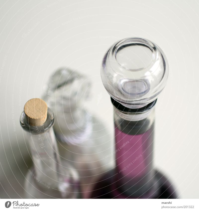 such bottles. Glass Violet White Neck of a bottle Bottle Perfume Decoration Fluid Cap Closure Blur Containers and vessels Colour photo Interior shot Cork