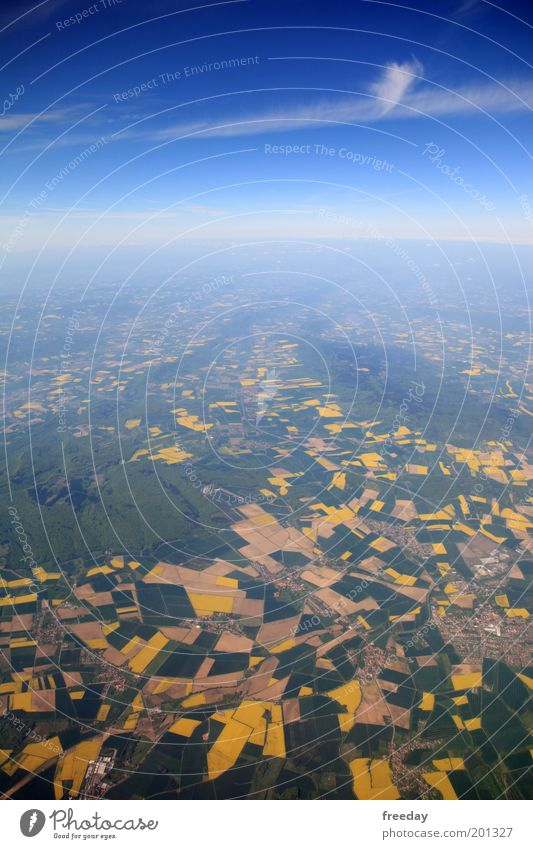 Sky Vacation & Travel Clouds Earth Horizon Flying Airplane Aviation Travel photography Agriculture Vantage point Canola Aerial photograph View from a window