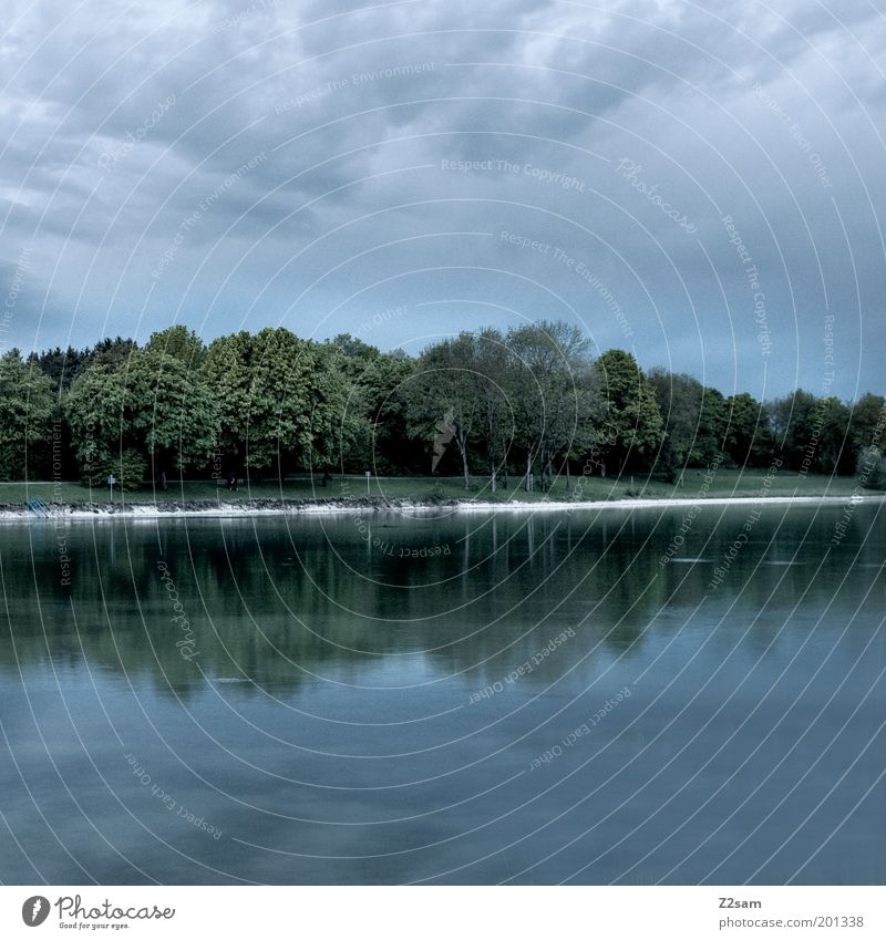 almost dark Environment Nature Landscape Sky Night sky Summer Thunder and lightning Lakeside Relaxation Esthetic Dark Cold Sustainability Calm Water Reflection