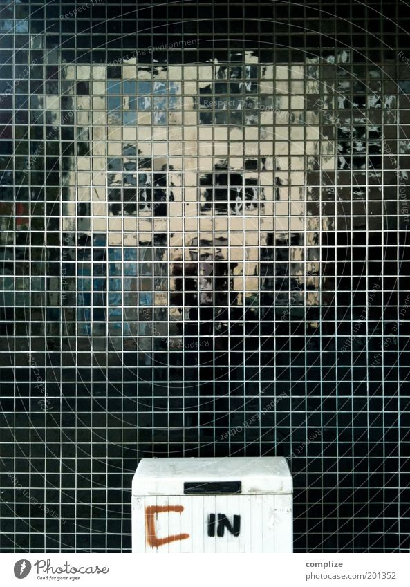 C in Facade Reflection Electricity power box Black Pixel Square Arrangement Colour photo Exterior shot Structures and shapes Deserted Copy Space left