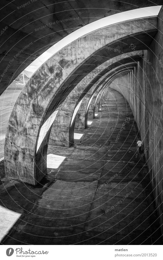 always on the wall long Harbour Manmade structures Architecture Wall (barrier) Wall (building) Tunnel Walking Dark Black White Curve Concrete Light Shadow