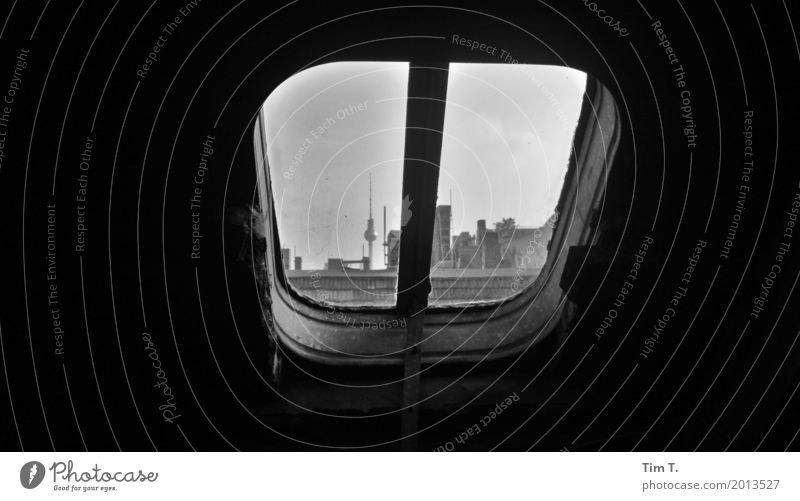 Prenzlauer Berg Berlin Town Capital city Downtown Old town Window Roof Television tower Living or residing Hatch Black & white photo Interior shot Deserted