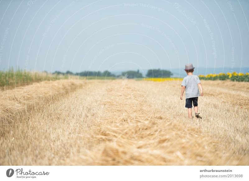 Boy with hat goes over mowed field Leisure and hobbies Playing Vacation & Travel Tourism Summer Summer vacation Sun Hiking Human being Masculine Child