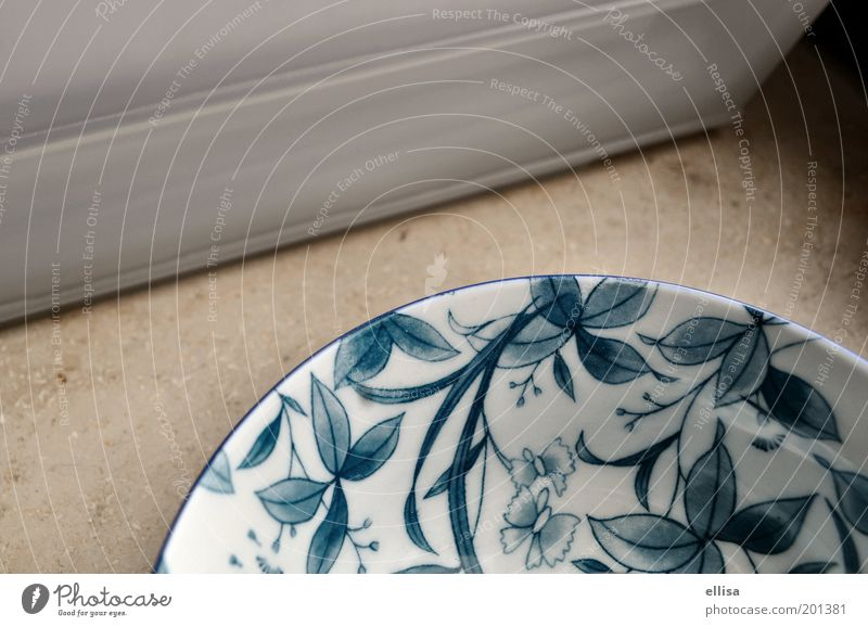 Porcelain: white to blue Crockery Bowl Decoration Stone Ornament Old New Round Blue Gray White Safety (feeling of) Pure Desert bowl Floral Pattern Colour photo