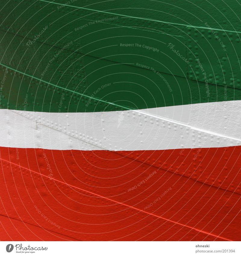 curved Navigation Watercraft Rivet Metal Green Red White Colour Varnish North Rhine-Westphalia Colour photo Multicoloured Abstract Pattern Structures and shapes