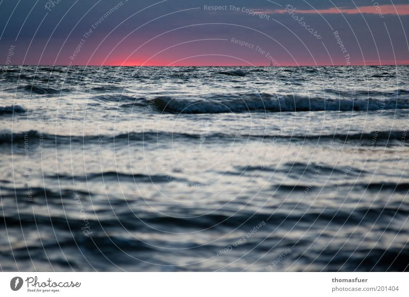 Sky Water Blue Red Summer Vacation & Travel Ocean Far-off places Freedom Waves Pink Horizon Romance Target Longing Gale