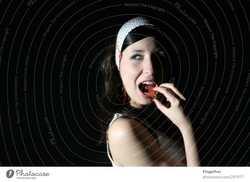 Human being Woman Youth (Young adults) Hand Adults Young woman Feminine Hair and hairstyles Eating 18 - 30 years Open Fruit Mouth To enjoy To hold on Delicious