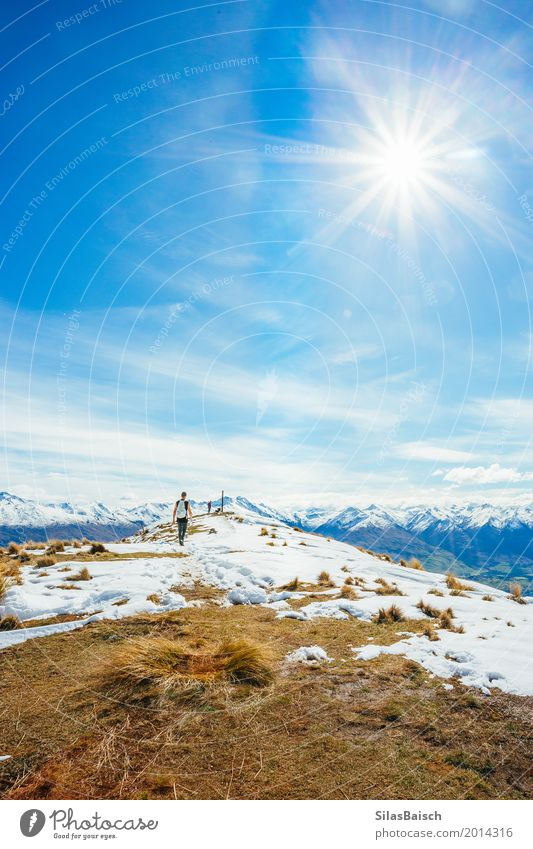 Travelling in New Zealand Nature Vacation & Travel Youth (Young adults) Young man Landscape Joy Far-off places Winter Mountain Life Lifestyle Snow Sports Freedom Moody Contentment