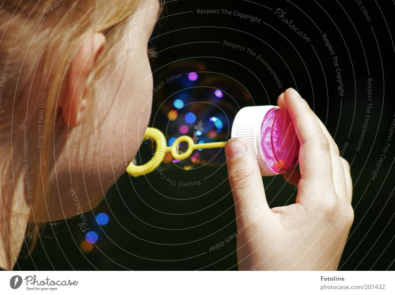 Human being Child Hand Girl Playing Head Hair and hairstyles Infancy Ear Blow Soap bubble Structures and shapes