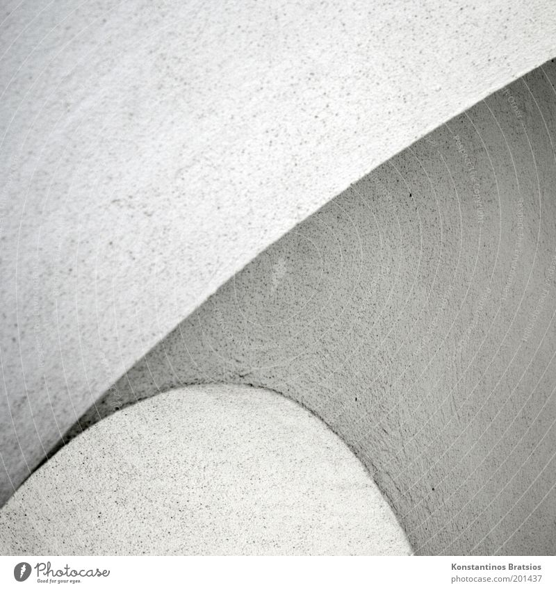 character Column Firm Round Gray White Design Corner Arch Curved Line Plaster Background picture Structures and shapes Black & white photo Exterior shot Detail