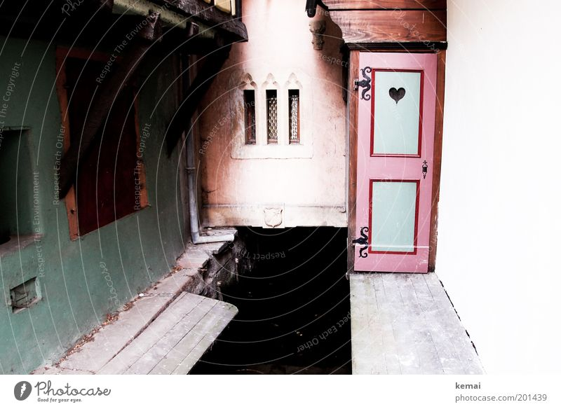 Water Old Green House (Residential Structure) Wall (building) Window Wall (barrier) Building Heart Architecture Pink Door Facade River Toilet Footbridge