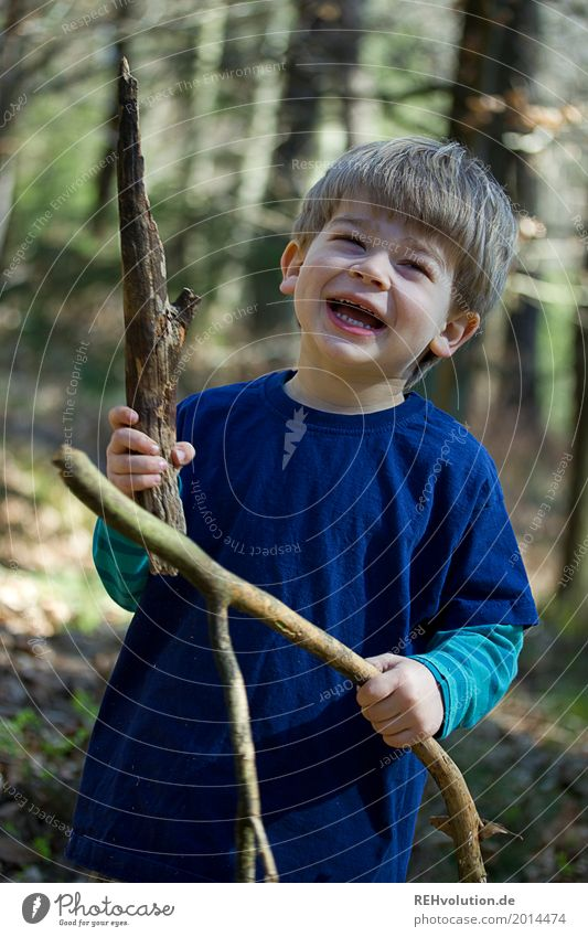 Human being Child Nature Blue Tree Landscape Joy Forest Environment Spring Funny Natural Boy (child) Laughter Happy Masculine