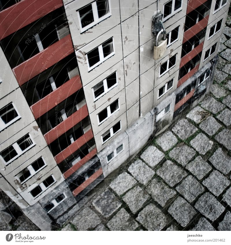 Small plate Art Work of art House (Residential Structure) High-rise Facade Balcony Cold Gloomy Town Gray Fear of the future Surrealism Decline Transience