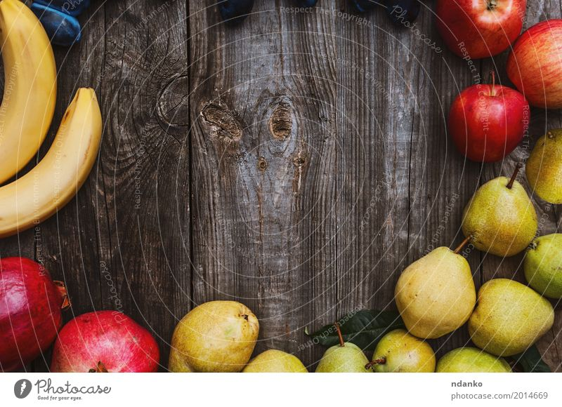 fruits on a gray wooden surface Food Fruit Apple Eating Vegetarian diet Garden Table Autumn Wood Fresh Natural Juicy Yellow Gray Red background fruitage ripe