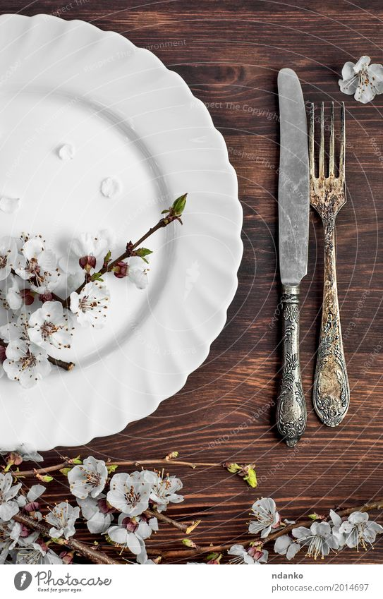 White empty plate and metal vintage knife and fork Lunch Dinner Plate Cutlery Knives Fork Table Kitchen Restaurant Flower Wood Metal Steel Old Eating Above