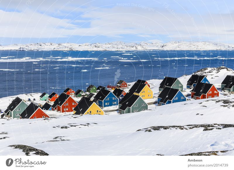 Colorful inuit houses in a suburb of arctic capital Nuuk Sky Nature Vacation & Travel Town Colour Landscape Ocean House (Residential Structure) Clouds Winter