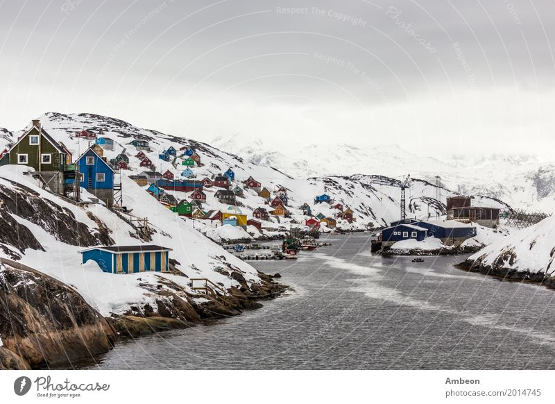 Kangamiut arctic village in the middle of nowhere Sky Nature Vacation & Travel Town Landscape Ocean House (Residential Structure) Clouds Winter Mountain
