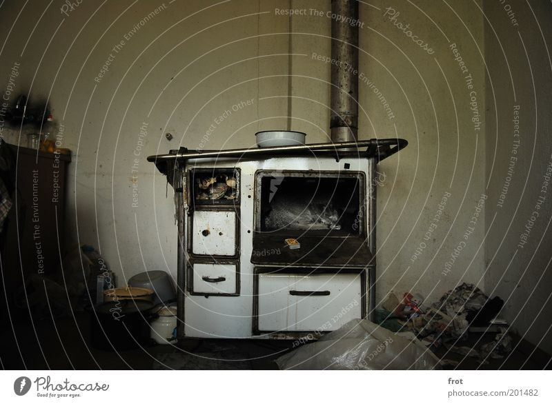 What do you want to eat? Bowl Pot Stove & Oven Metal Old Esthetic Dirty Dark Cold Gray White Authentic Colour photo Interior shot Deserted Shadow