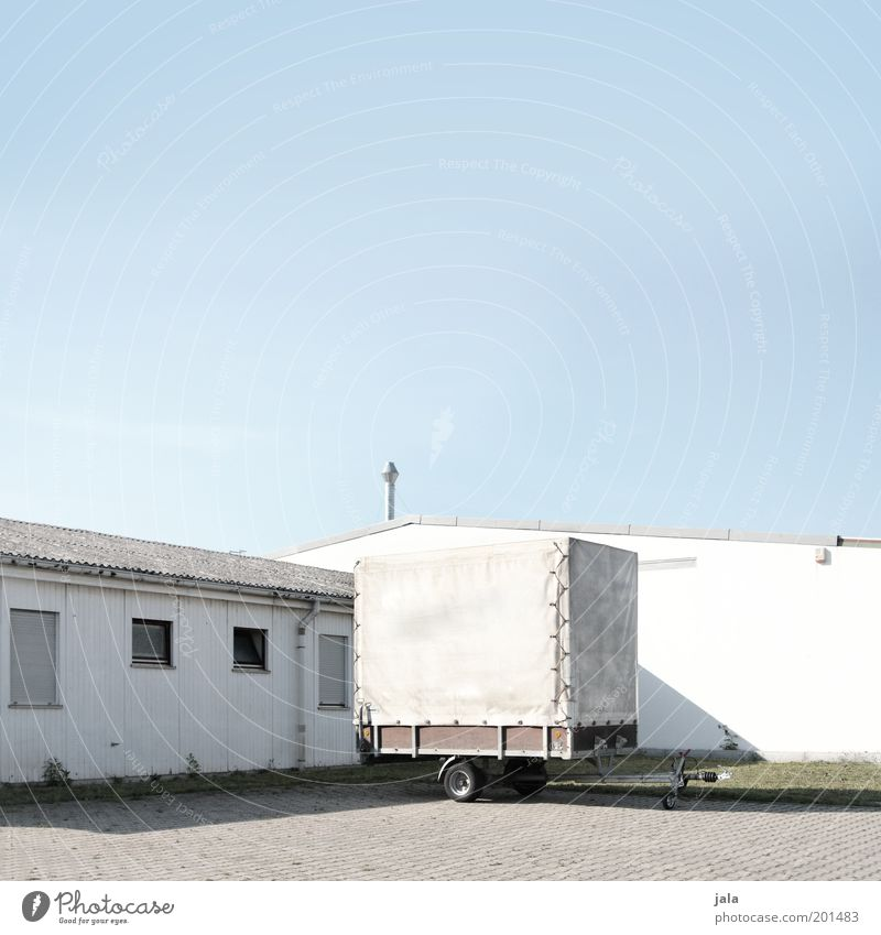 Sky White Blue House (Residential Structure) Work and employment Building Bright Factory Company Parking lot Parking Workplace Outskirts Trailer Industrial district Industrial site