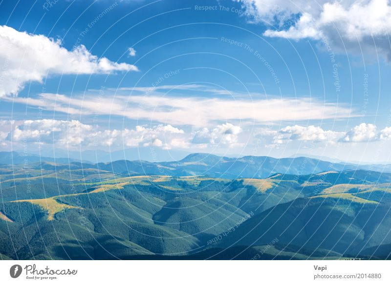 Landscape with blue mountains Vacation & Travel Tourism Summer Sun Mountain Nature Air Sky Clouds Horizon Sunlight Spring Beautiful weather Tree Forest Hill