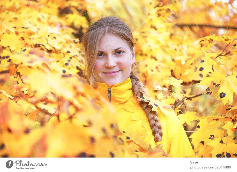 Pretty young woman with red hair in the autumn park Human being Woman Nature Youth (Young adults) Young woman Colour Beautiful Tree Red Leaf Joy Forest