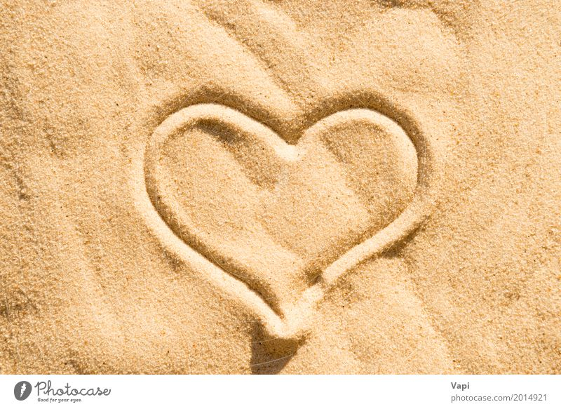 Heart sign Nature Summer Relaxation Beach Yellow Love Health care Sand Orange Island Heart Romance Wedding Symbols and metaphors Peace Conceptual design