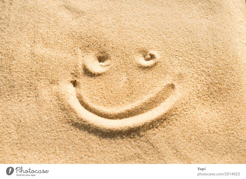 Smile sign Style Joy Happy Beautiful Face Health care Wellness Life Summer Beach Wallpaper Human being Art Nature Sand Signs and labeling Smiling Happiness