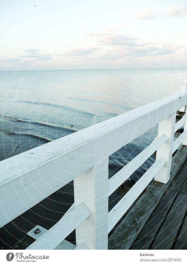 On the footbridge Nature Landscape Water Sky Horizon Waves Coast Lakeside Beach Baltic Sea Elegant Wet Moody Power Romance Serene Longing Relaxation