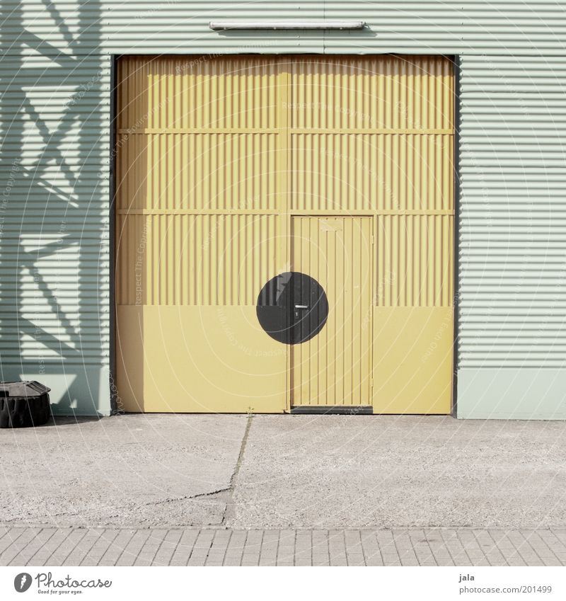 Yellow Work and employment Building Door Closed Industry Places Industrial Photography Factory Point Storage Company Warehouse Garage Industrial plant Tin