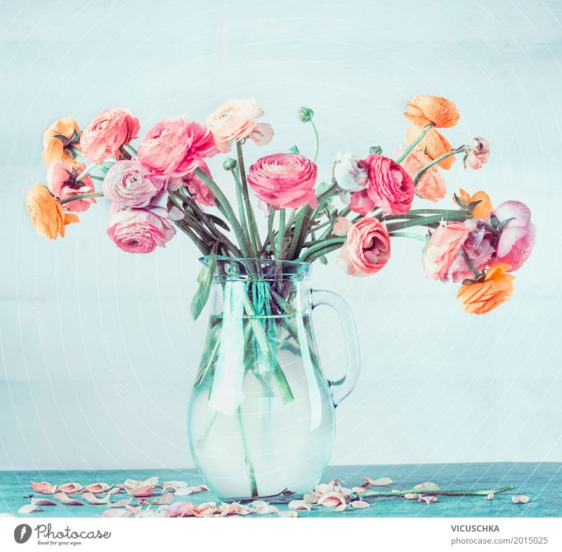 Bouquet with beautiful Ranunculus in vase Lifestyle Style Design Summer Flat (apartment) Decoration Table Feasts & Celebrations Valentine's Day Mother's Day