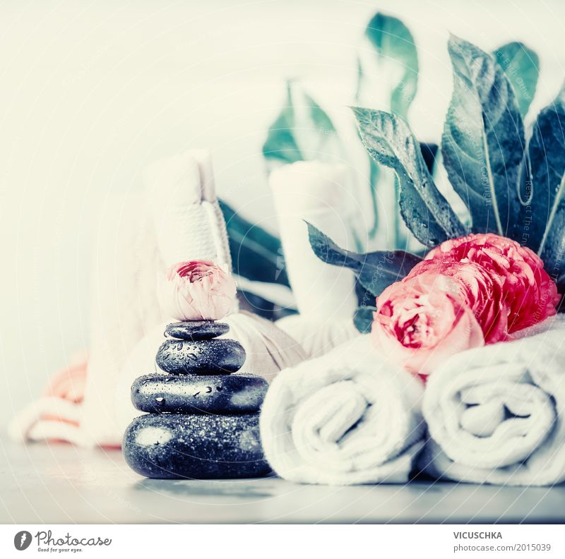 Spa with massage stones and flowers Style Design Beautiful Personal hygiene Healthy Health care Medical treatment Wellness Well-being Relaxation Fragrance Cure