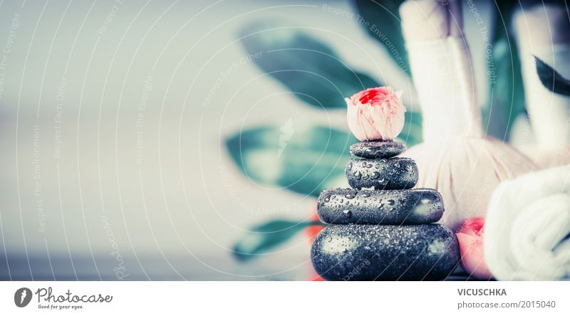 Wellness with massage stones Style Design Beautiful Personal hygiene Healthy Life Meditation Cure Spa Massage Nature Decoration Flag Serene Background picture
