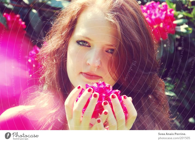 Human being Youth (Young adults) Hand Beautiful Plant Flower Face Adults Eyes Feminine Emotions Hair and hairstyles Garden Blossom Style Dream
