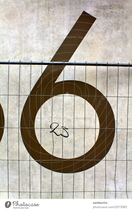 6 + 23 Digits and numbers House number Wall (barrier) Wall (building) Concrete Construction site Hoarding Fence Metalware Metal construction Closed Border