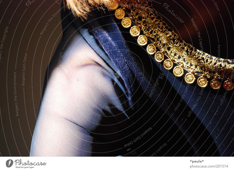 Velvet, silk and sequins Luxury Elegant Woman Adults Arm Shoulder 1 Human being Belly dance Fashion Cloth Jewellery Gold Glittering Dream Beautiful Feminine