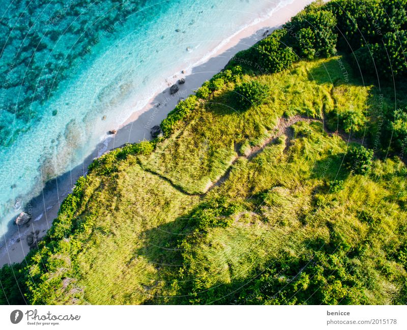 Bali Beach Bird's-eye view Aerial photograph Tall Vacation & Travel Indonesia Sandy beach Water Ocean Coral Summer Sun White Paradise Island droning Turquoise