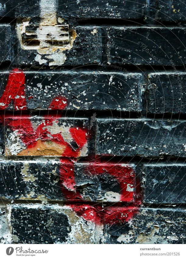 Old White Red Black Yellow Wall (building) Graffiti Wall (barrier) Art Esthetic Characters Letters (alphabet) Transience Brick Past Decline