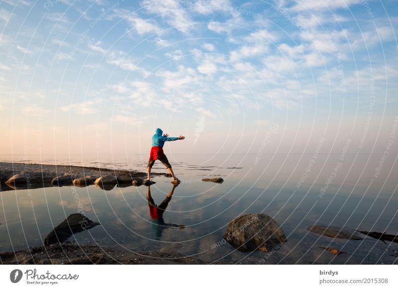 Kung Fu Panda Life Harmonious Calm Ocean Martial arts Masculine Man Adults 1 Human being 30 - 45 years 45 - 60 years Water Sky Horizon Beautiful weather Rock