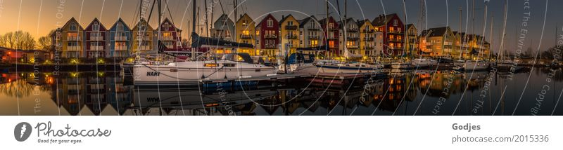 Panoramic view of colourful wooden houses (swedish houses) at a river and harbour Water Spring Greifswald Town Port City House (Residential Structure) Harbour