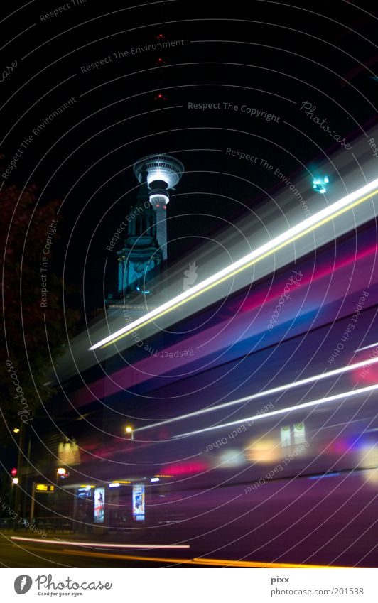 Black Berlin Speed Lifestyle Perspective Driving Logistics Church Tourism Night sky Stress Manmade structures Landmark Tram Television tower Stop (public transport)
