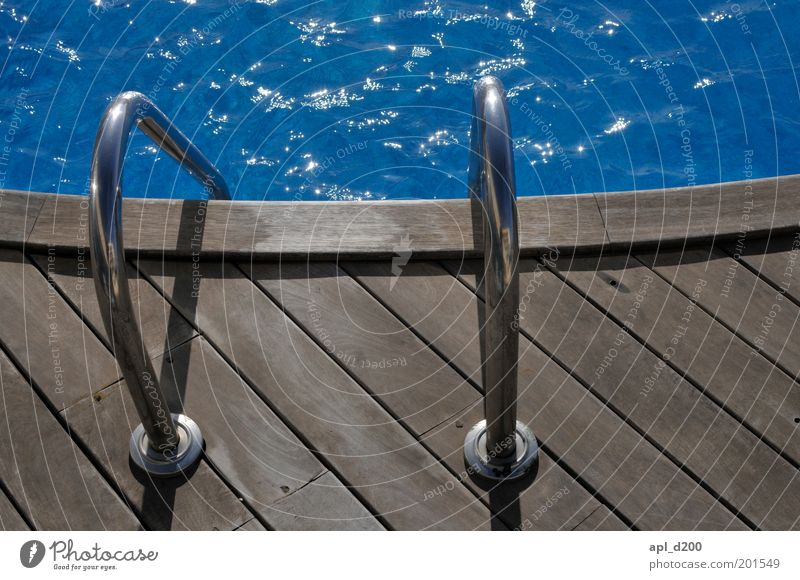 Water Blue Summer Vacation & Travel Relaxation Happy Dream Brown Esthetic Cool (slang) Wellness Swimming pool Leisure and hobbies Ladder Wooden floor Summer vacation
