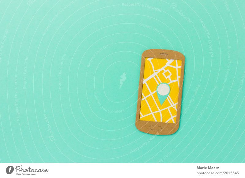 Vacation & Travel Lanes & trails Modern Arrangement Walking Illustration Planning Safety Internet Hip & trendy Search Cellphone Turquoise Map City trip Mobility