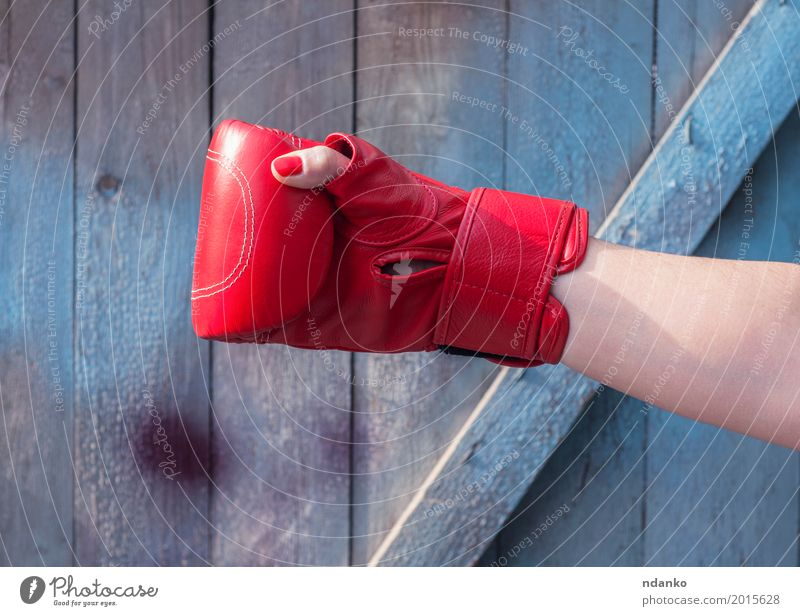Right hand female in a red boxing glove Human being Woman Old Blue Hand Red Adults Sports Feminine Wood Fashion Retro Power Success Fingers Might
