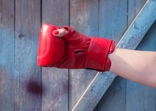 Right hand female in a red boxing glove Sports Success Feminine Woman Adults Hand Fingers 1 Human being 30 - 45 years Fashion Leather Gloves Wood Old Fight