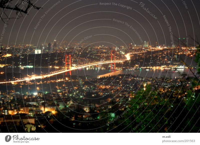 Dark Europe Bridge River Asia Skyline Illuminate Turkey Istanbul City Vacation photo The Bosphorus City light