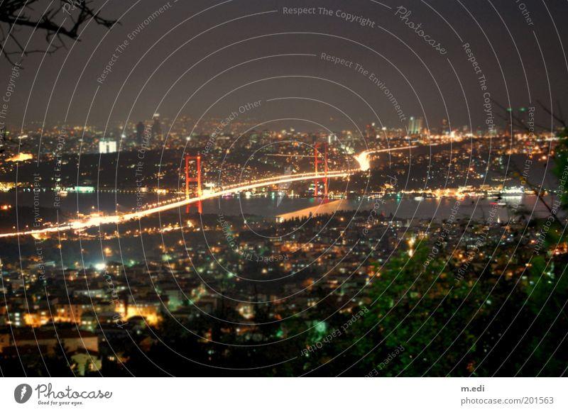 istanbulmini Turkey Istanbul The Bosphorus Bridge Asia Europe Night Vacation photo Panorama (View) Dark Colour photo Exterior shot Evening Light Reflection