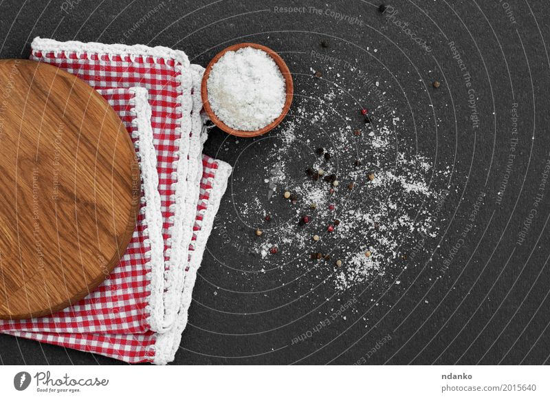 White salt in a wooden bowl on a black surface White Red Black Eating Natural Wood Nutrition Vantage point Herbs and spices Kitchen Vegetarian diet Aromatic Crystal Cooking Rustic Ingredients