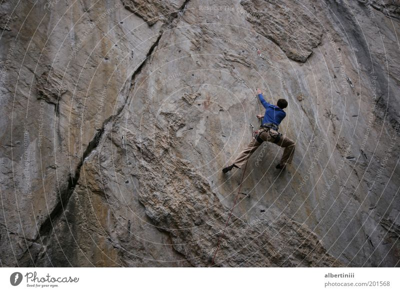 climb Human being Masculine 1 18 - 30 years Youth (Young adults) Adults Environment Nature Elements Summer Rock Alps Mountain Exceptional Athletic Strong Power